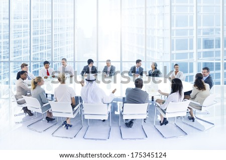 Group of Business People at a Conference in the City - stock photo
