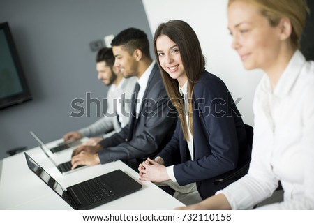 Group of business people at a meeting  in modern office