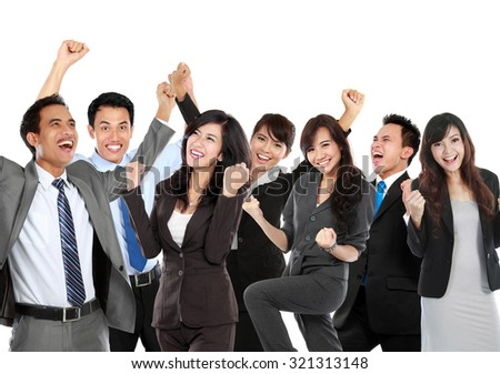 Group of business people celebrating their achievement, conceptual. - stock photo