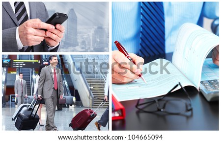 Group of business people. Collage background. - stock photo