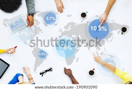 Group of Business People Discussing Global Market - stock photo