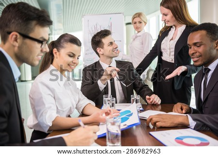 Group of business people discussion new ideas at conference room.