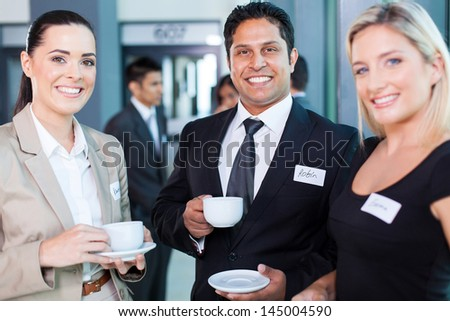 group of business people during conference break - stock photo