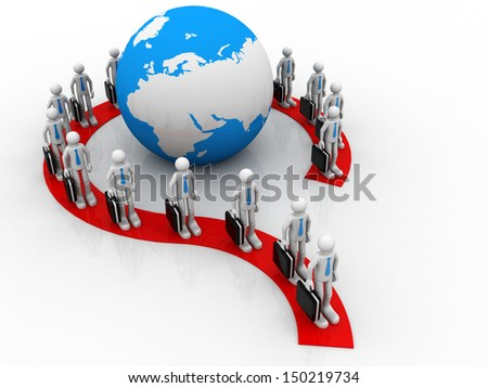 Group of  business people forming question mark around earth globe - stock photo