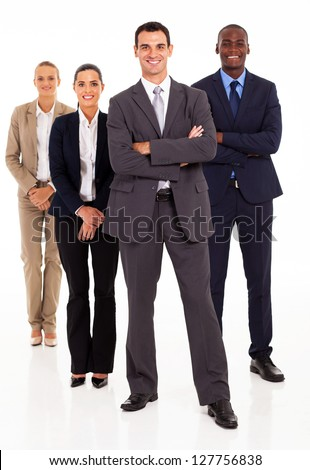 group of business people full length on white - stock photo