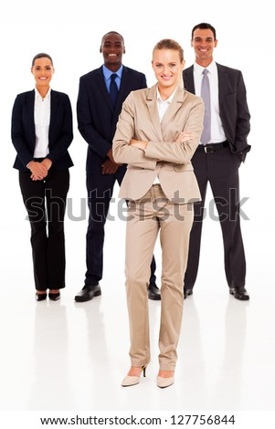 group of business people full length portrait - stock photo