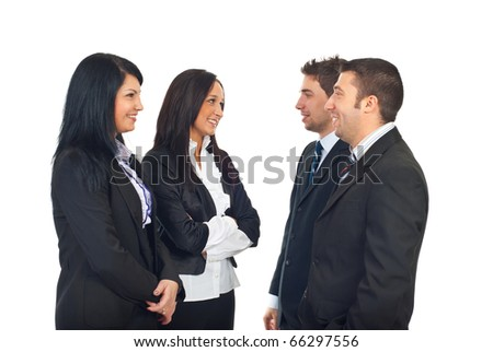 Group of business people having conversation and smiling together isolated on white background