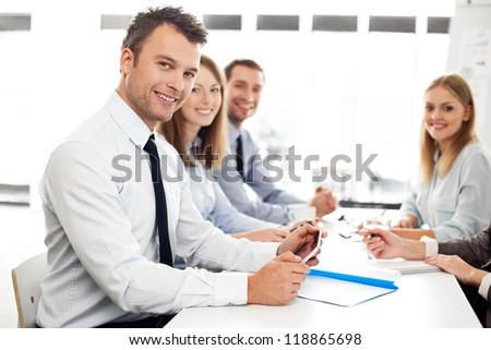 Group of business people in office - stock photo