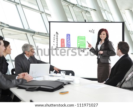 Group of business people in office at presentation with flip chart