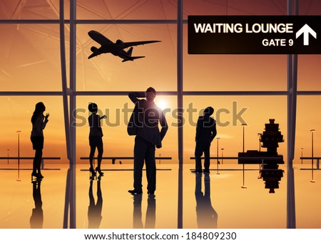 Group of business people in the airport, - stock photo