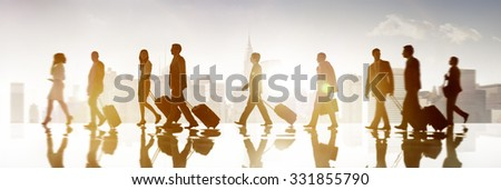 Group of Business People in Town Travel Walking Concept - stock photo