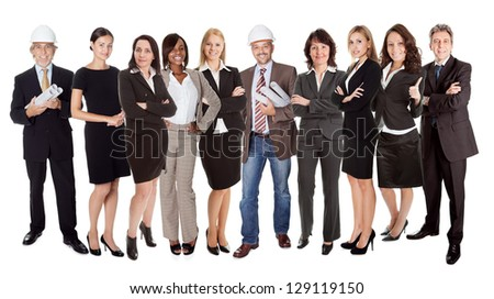 Group of business people. Isolated on white