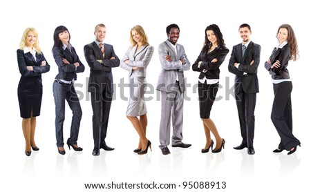 Group of business people isolated on white - stock photo