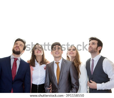 group of business people looking up to future. - stock photo