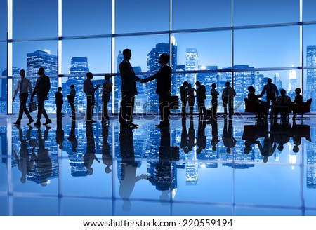 Group of Business People Meeting in the City - stock photo