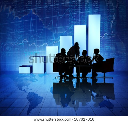 Group of Business People Meeting on Booming World Economic - stock photo