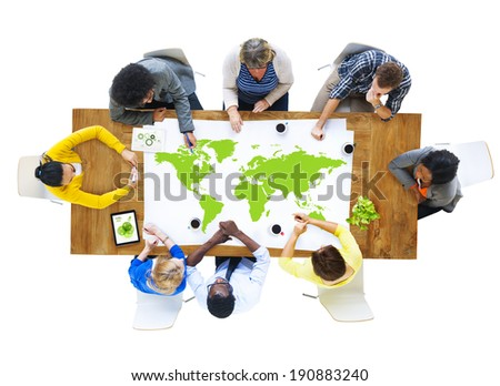 Group of Business People Meeting with World Map - stock photo