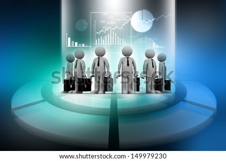 Group of business people on abstract business background - stock photo