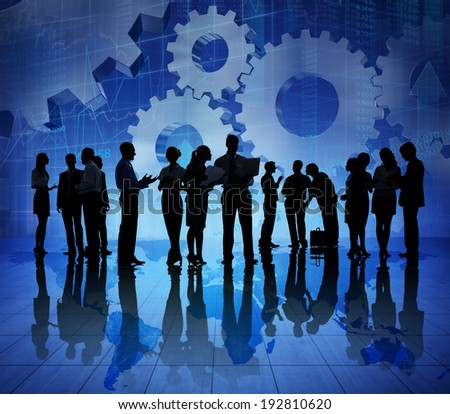 Group of Business People on Booming World Economic - stock photo