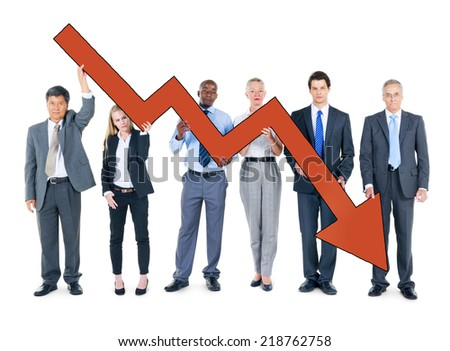 Group of Business People on Economic Crisis - stock photo