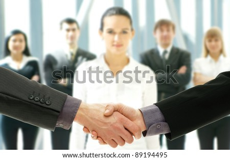 Group of business people over futuristic background