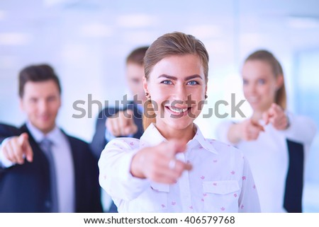 Group of business people pointing to you  - stock photo