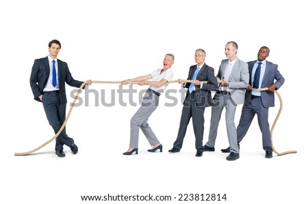 Group of Business People Pulling Rope - stock photo