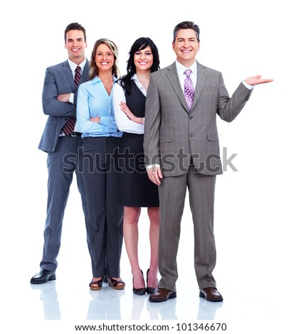 Group of business people showing a copyspace. Isolated on white background. - stock photo