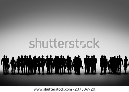 Group of business people silhouettes standing and looking ahead. Concept of community, urban life, teamwork, corporation - stock photo