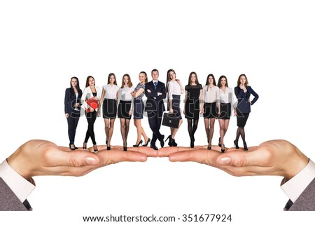 Group of business people stand on human hands over white background