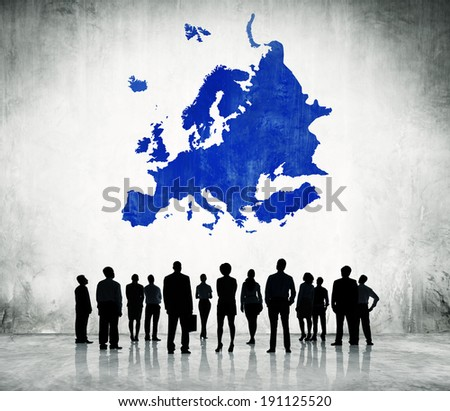 Group Of Business People Standing In A White Background With Blue Europe Cartography Above - stock photo