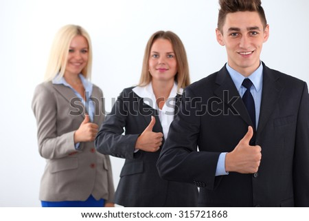 Group of business people, start-up team, thumbs up