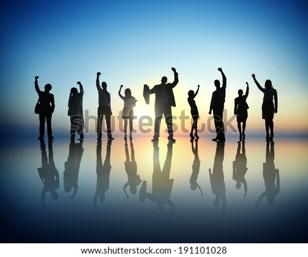 Group of business people successful and celebrating. - stock photo