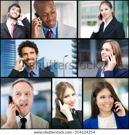Group of business people talking on the phone - stock photo