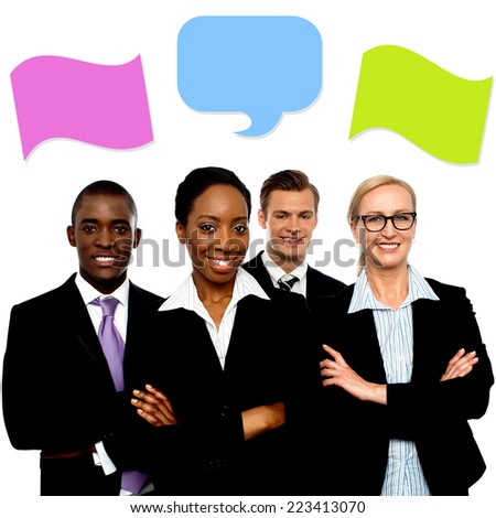Group of business people talking with speech bubbles - stock photo