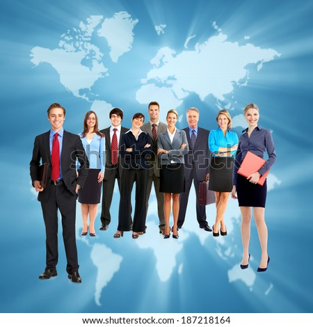 Group of business people team. Over blue map background - stock photo