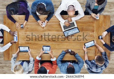 Group of Business People Using Digital Devices - stock photo