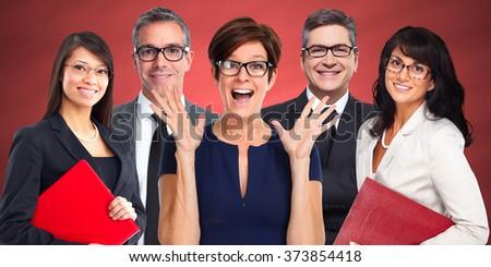 Group of business people wearing eyeglasses. - stock photo