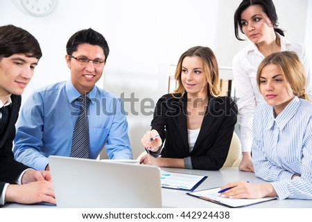Group of business people with business woman leader
