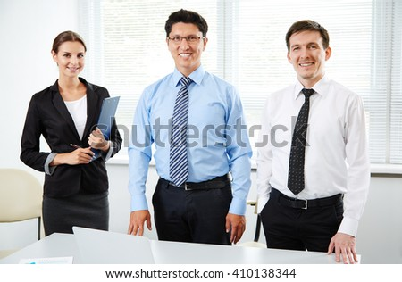 Group of business people with businessman leader  - stock photo