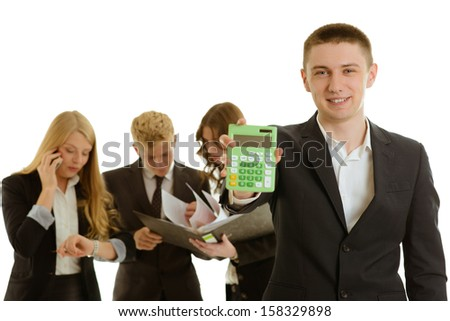 group of business people with calculator isolated - stock photo