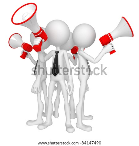 Group of business people with megaphone. Isolated