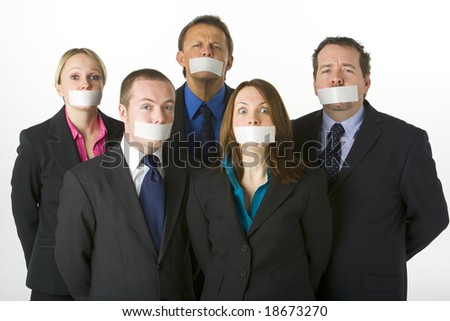 Group Of Business People With Their Mouths Taped Shut - stock photo