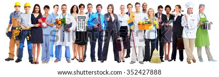 Group of business people workers isolated over white background background.