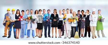 Group of business people workers. Job and education concept background. - stock photo