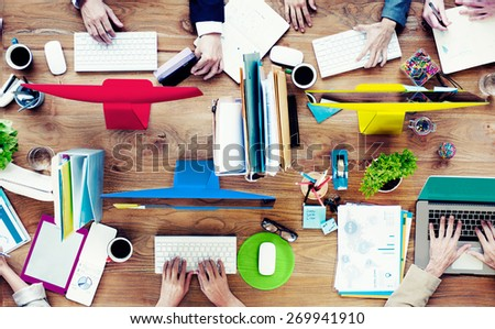 Group of Business People Working Contemporary Project Concept - stock photo