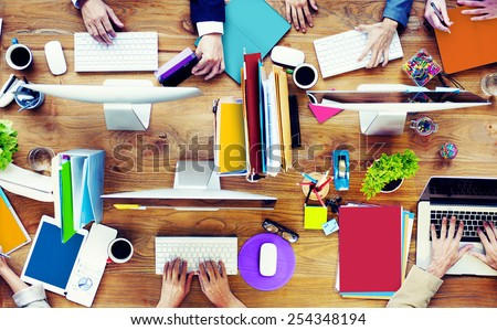 Group of Business People Working Office Desk Concept - stock photo