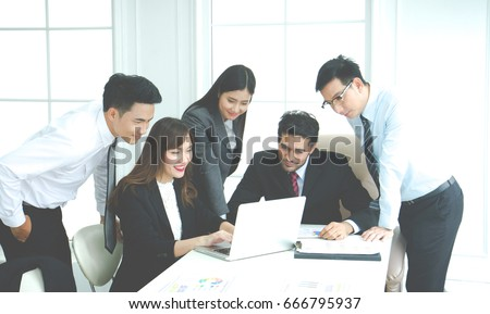 Group of business people working together and brainstorming in the office, Business Corporate People Working Concept