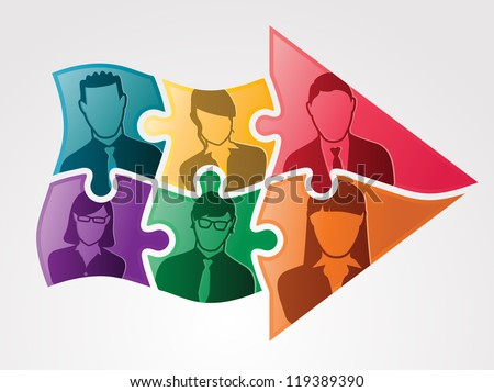 Group of business team are moving forward together represented by an arrow made of puzzle pieces. - stock photo