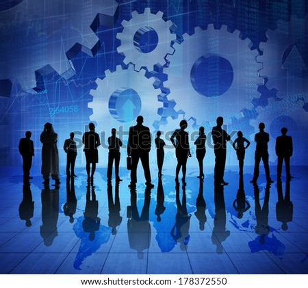 Group of Business Team on World Map - stock photo